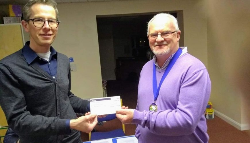 helsby parish -council chris ellams cheque will cook mcbf